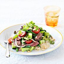 Thai lamb and noodle salad.  I use the noodle salad all the time as a dish for BBQ's.  I use the prenzel's Asian oil instead of the peanut oil and lime juice.  Much cheaper than buying limes and still gives the Asian flavours.