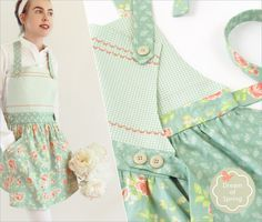 Soft Floral Apron with Curved Skirt and Button Accents | Sew4Home