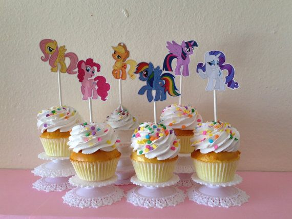 Hey, I found this really awesome Etsy listing at https://www.etsy.com/listing/174636822/my-little-pony-cupcake-toppers