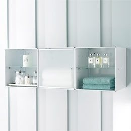 The Container Store > Wall-Mounted Enameled QBO® Steel Cube Bath Cabinet  (mud room)