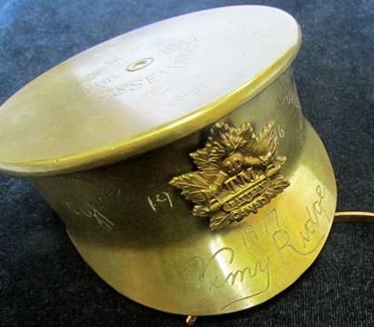 Lot 264 - Canadian Trench Art Army Cap made from a 1917 shell base, engraved Ypres Somme 1916, Vimy Ridge