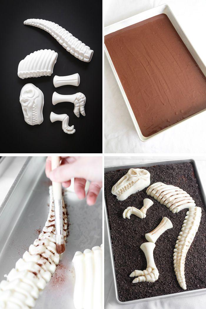 Dinosaur Dig Triple Chocolate Sheet Cake | Sprinkle Bakes. Using a non-toxic sand mold of dinosaur bones.