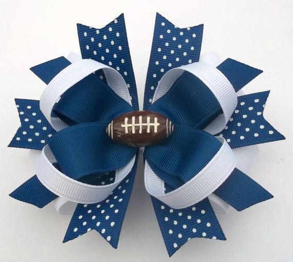 Blue And White Football Boutique Handmade by JustinesBoutiqueBows, $7.50