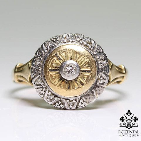 Period: Art deco (1920-1935) Composition: 18 K Gold & Platinum Stones: - 1 Round European cut diamond of I-VS2 quality that weighs 0.15ctw. - 10 Old mine cut diamonds of I-VS2 quality that weigh 0.10c