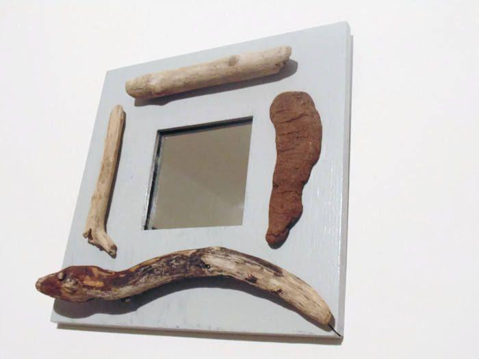 Miroir carré bois flotté au choix décoration murale bord