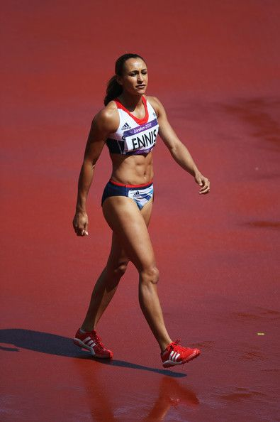 Jessica Ennis of Great Britain looks on as she competes in the Women's Heptathlon High Jump on Day 7 of the London 2012 Olympic Games at Olympic Stadium on August 3, 2012 in London, England.