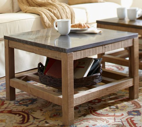 """Connor Coffee Table  26"""" square, 18"""" high  Crafted with a pine wood base with a limestone top."""