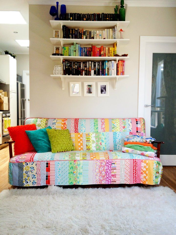 Patchwork sofa cover in the home of Emma from Ballarat Patchwork via Art Gallery Fabrics