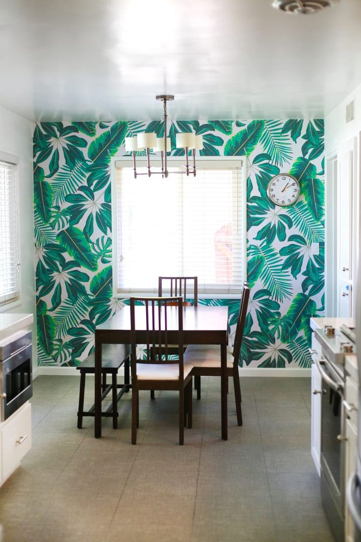 How to Install Your Own Wallpaper | Tropical print from @muralswallpaper
