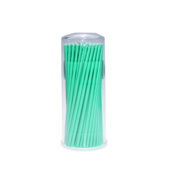 ROSENICE Eyelash Extension Lint Free Micro Brush Applicators Mascara - 100 Pieces. Colour: Green. Material: Plastic, nylon linter. Do not soak lashes. This product will clean and remove eyelash adhesive glue from your false eyelashes. Gentle way to remove adhesive from your falsies. Apply with cotton swab to lash band to remove adhesive.