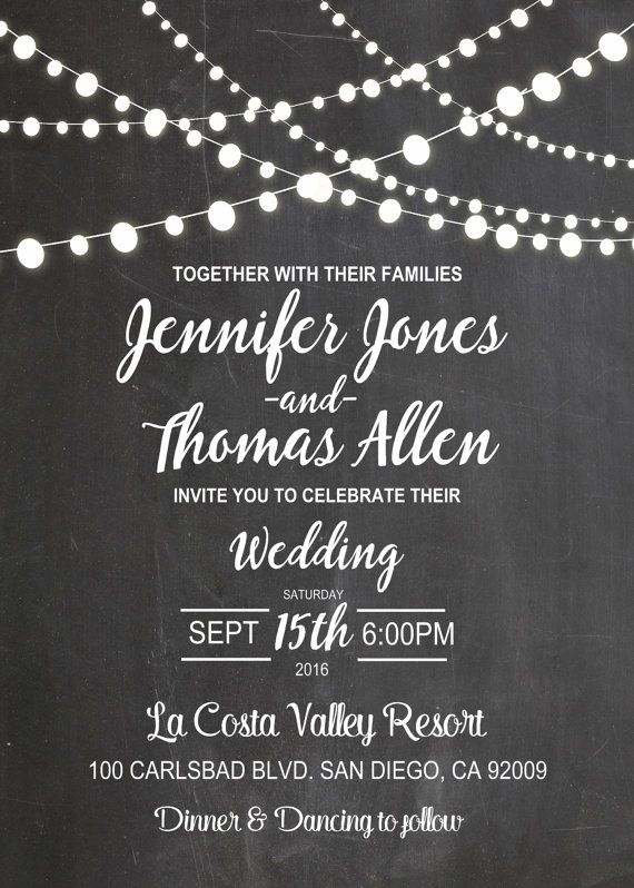 Chalkboard wedding invitation with strings of by CutePhotoCards