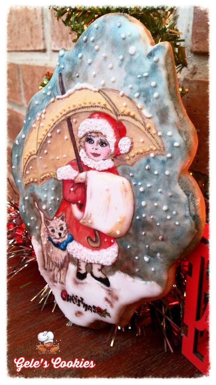 Galleta niña Navidad  Royal icing pintada a mano