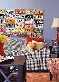 License Plate DIY art. I love this idea. I might make a project out of scouring junk yards over this next year. It would be a cool wall for Isaac's room :)