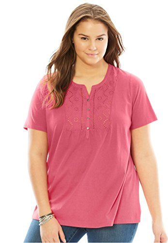 8846a8d6cf3 Women s Plus Size Top In Soft Knit With Eyelet Embroidery