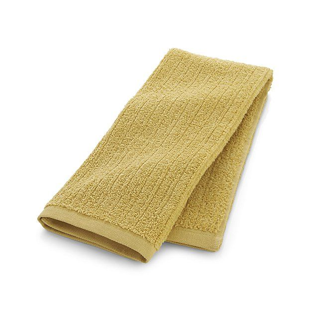 Ribbed Yellow Hand Towel | Crate and Barrel