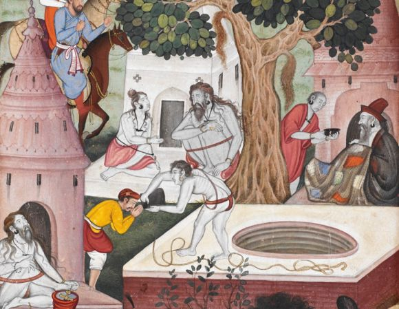 Ascetics at Gurkhattri in 1519. Detail from painting by Kesu Khurd from the 'Baburnamah', 1590-92 (British Library Or.3714, f.320v)