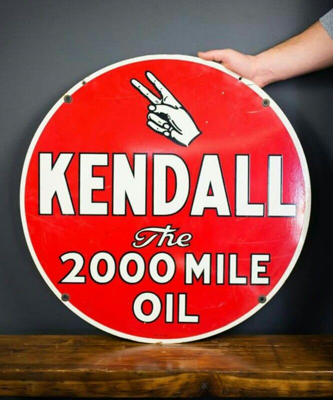Kendall Motor Oil Porcelain Sign Vintage Tankstellen