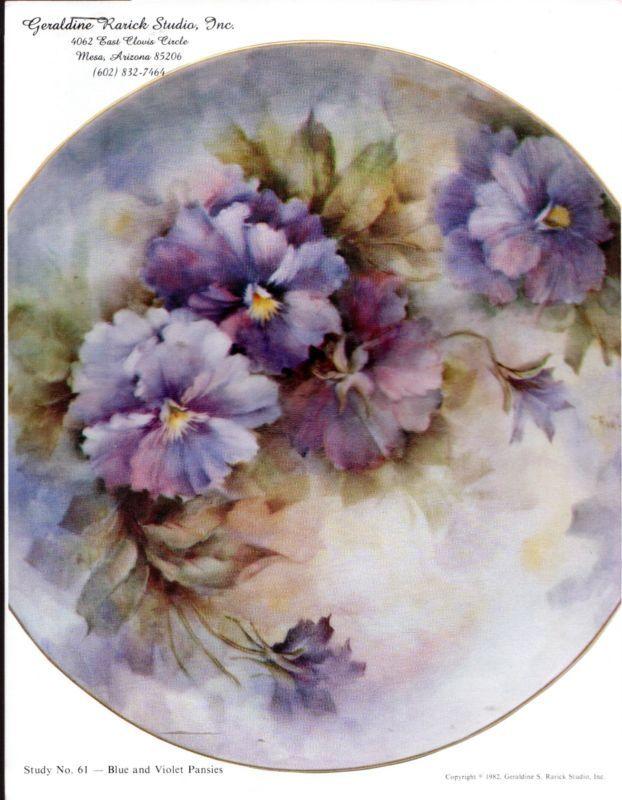 Blue & Violet Pansies #61 by Geraldine Rarick  China Painting Study