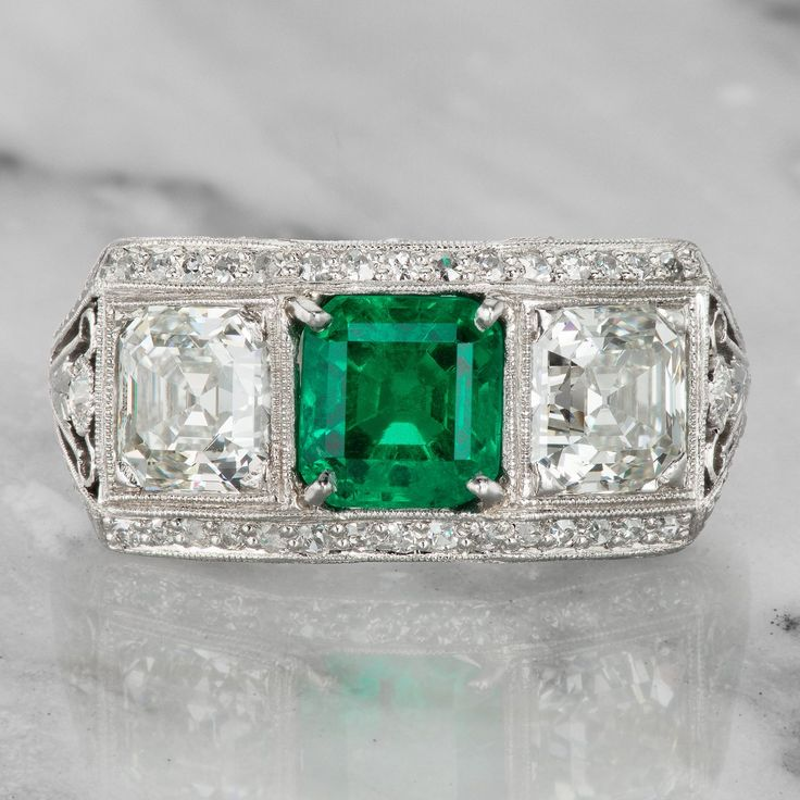 Vintage Colombian Emerald & Diamond Engagement Ring