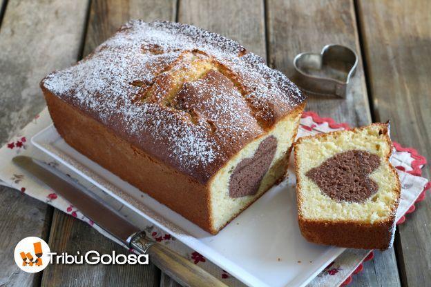 Plumcake alla vaniglia con cuore di cioccolato