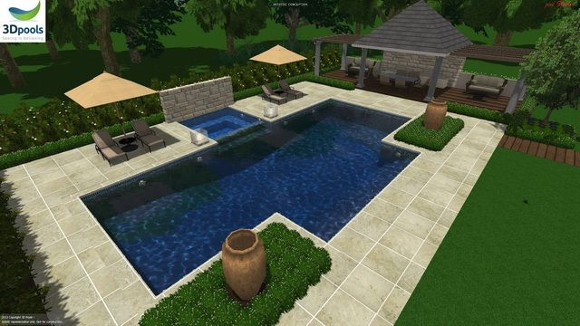 Large modern family pool, spa with water feature wall, wide entry steps & 12.5m lap lane. Buy this pool design and many more stylish designs at www.3d-pools.com.au