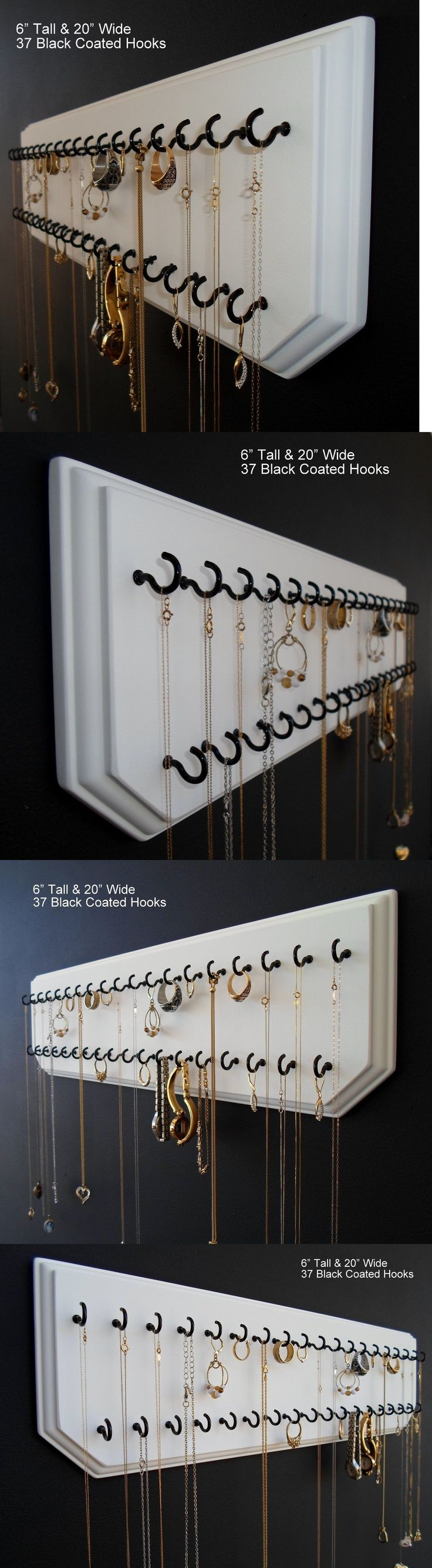 Multi-Purpose 168165: 6X20-White 37-Black, Jewelry Organizer Hanging Necklace Holder Display Wall Rack -> BUY IT NOW ONLY: $34.99 on eBay! #JewelryOrganizer