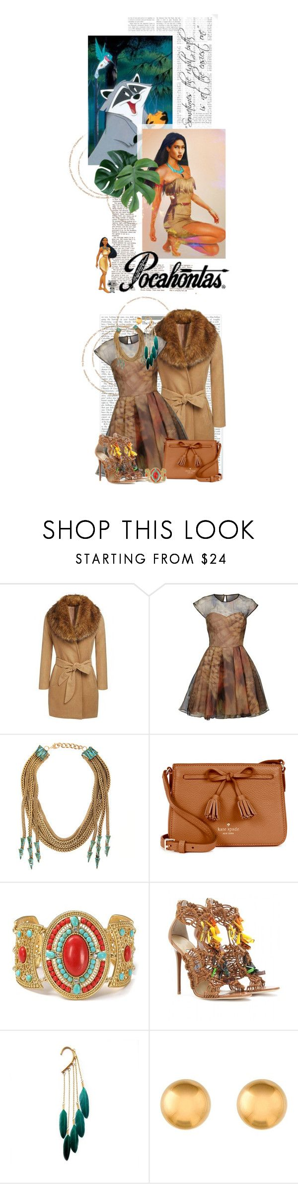 """Pocahontas"" by crystal85 ❤ liked on Polyvore featuring Disney, Ted Baker, Nicole Romano, Kate Spade, Carolee LUX, Jimmy Choo, disney and pocahontas"