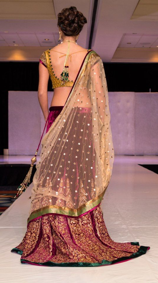 Beautiful Lehenga with backless Blouse by Shyamal & Bhumika http://www.shyamalbhumika.com/