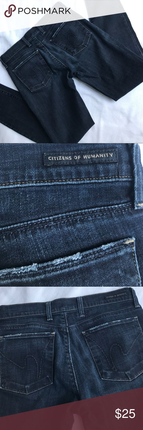 Citizens of Humanity Women's Jeans Size 27 Made of 98% cotton and 2% Elastane. A women's size 27 and in good condition. Only flaw is that the buckle loop in the back had to be fix but it isn't noticeable unless you look at these jeans inside out where you can see the patch put to fix it by the cleaners (shown above in images). These are low waist skinny leg stretch jeans. Have any questions you can simply ask by commenting below. They do it fit me anymore and that's reason I'm selling…