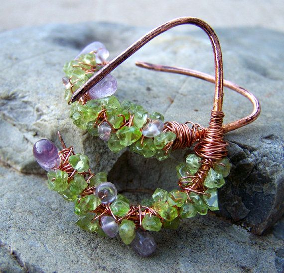 Peridot and Amethyst copper earrings 16 gauge earrings by jwstyle, $32.00