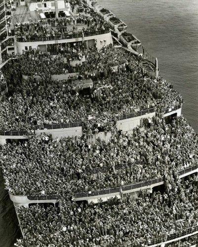 Soldados americanos voltando para casa após a II Guerra Mundial em 1945.