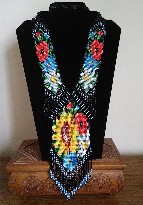 Ukrainian floral gerdan Wildflowers Colorful necklaces