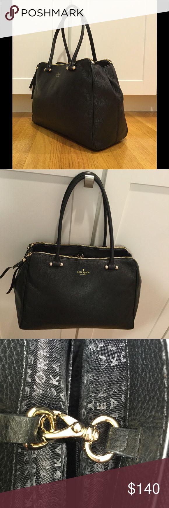"""Kate spade shoulder bag Kate spade large shoulder bag. Black pebble leather. 15"""" s 10"""" x 6"""". Double zipper compartment , I interior zip pocket  and 2 slide pocket. Unused,from a KS sample sale kate spade Bags Shoulder Bags"""