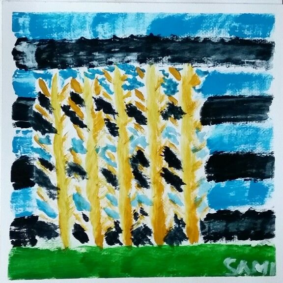 Trees with no leaves. Acrylics