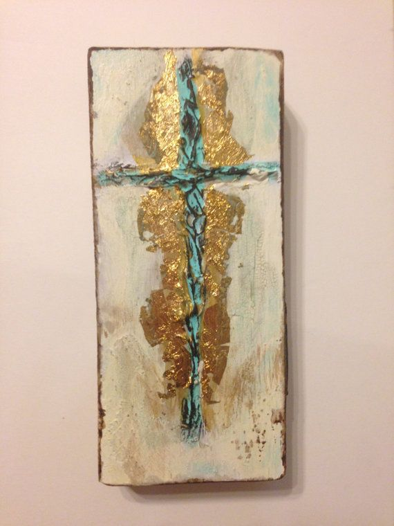 Handmade Original Textured Cross On Wood Rustic Painted