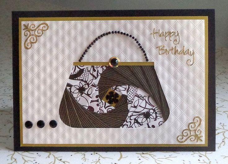 DIY handmade Iris fold handbag birthday card I made for my daughter.