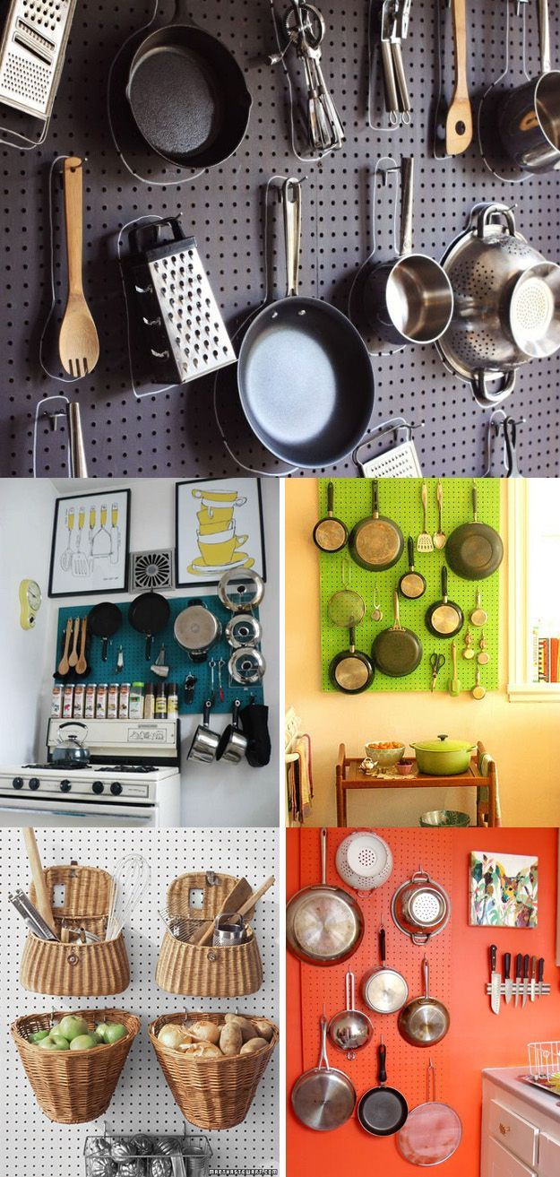 Consider a peg board for storing pots, pans, and kitchen tools chalkboard