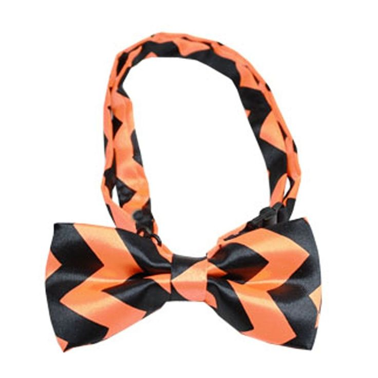 Halloween Chevron Dog Bow Tie. Add some pizazz to your party or day with the Halloween Chevron Dog Bow Tie! Chevron bow tie Adjustable collar Plastic slide closure Made in the U.S.A. Why We Love It: Dogs will be ready to hit the streets this Halloween with the Halloween Chevron Dog Bow Tie! This bow-tie is on a silky smooth material. The plastic slide makes it adjustable, with a plastic hinge clip at the tie for an easy on and off. Made in the U.S.A.*THESE ARE ONLY A...