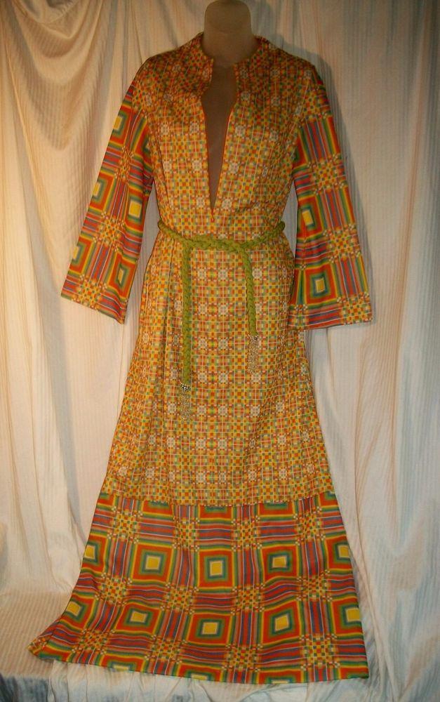 Vintage Abstract Robe Gossard Loungewear Psychedelic Caftan Zipper Front (M)  #Gossard