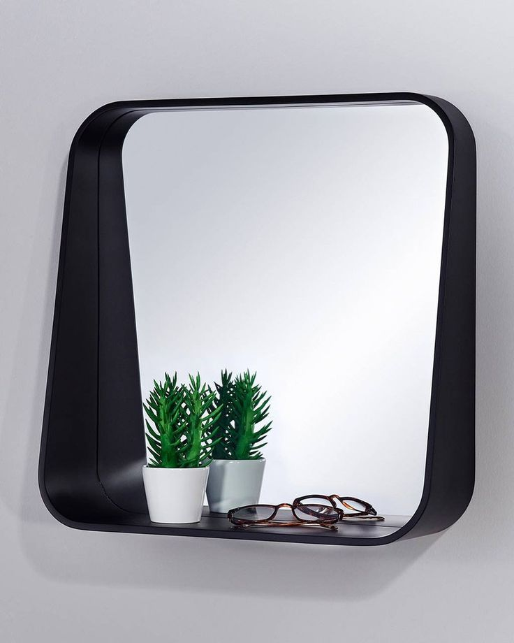 Rack - Wall Mirror with Shelf, Black Square Frame | MirrorDeco