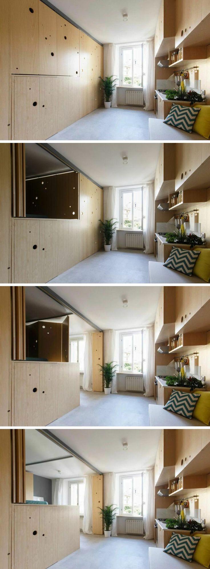 Uberlegen Falttüren Aus Eschenholz Für Clevere Raumteilung In Einer Einzimmerwohnung  #clevere #einer #einzimmerwohnung #