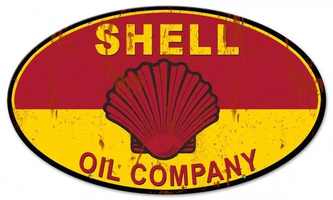 Shell Oil Company Grunge Metal Sign 24 x 14 Inches