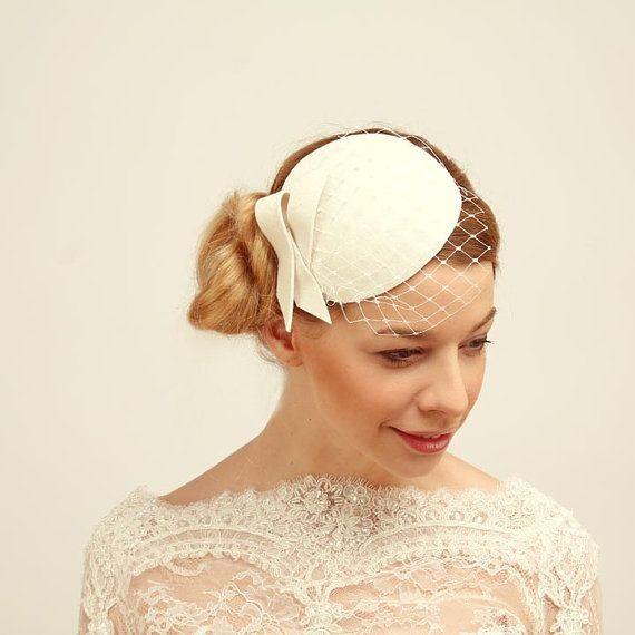 Bridal Felt Mini Hat Fascinator with Veil-Ivory by KasiaGirtler