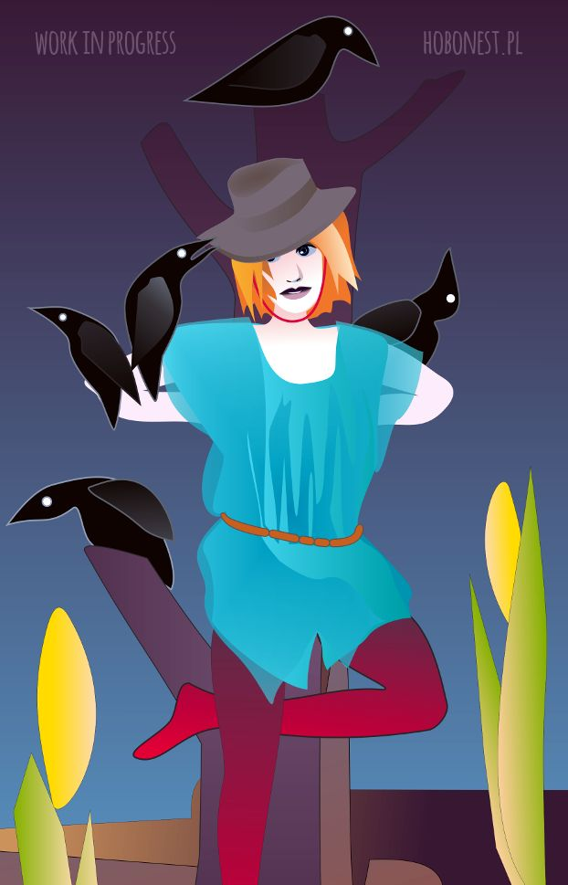 A vector picture of a hobo scarecrow created in CorelDRAW (work in progress)