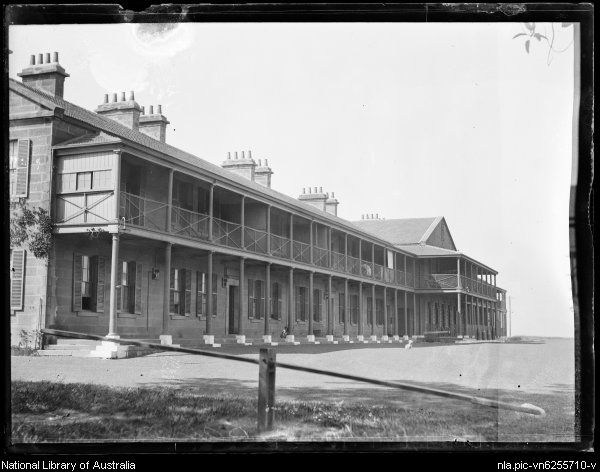Victoria Barracks building, Paddington in Sydney. Built in the Regency style of Victorian architecture between 1841 and 1849. Photo from National Library of Australia