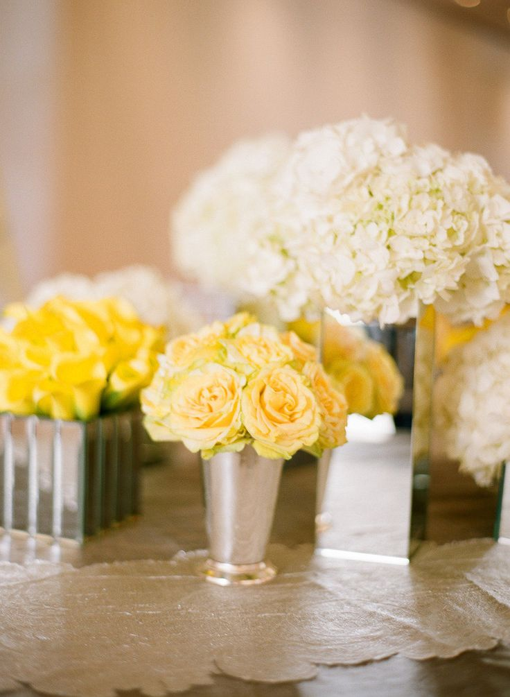 Yellow Roses & White Hydrangeas in mirrored or silver containers ~ Love! Photography by elizabethmessina.com, Florals by jeffleatham.com. So pretty!!