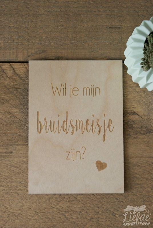Houten kaart - Bruidsmeisje