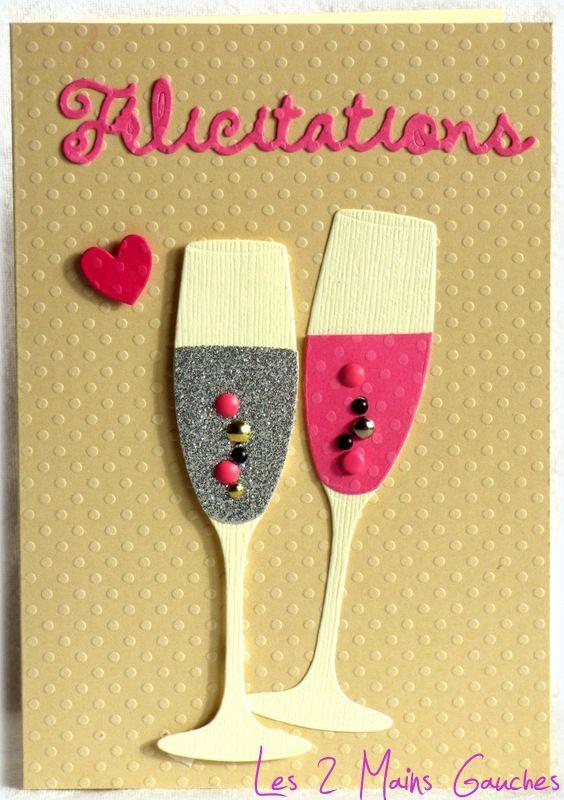 carte de flicitations avec fltes de champagne argent et rose - Carte De Mariage Felicitation