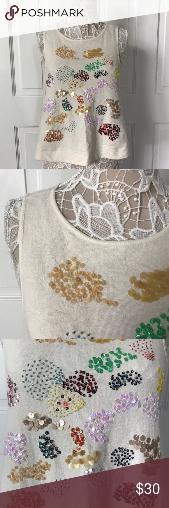 """Anthropologie Postmark Sequin Sweater Tank Small rand new. Anthropologie sale tag missing but tag with extra sequins in a little bag is still attached (see photos)  Armpit to armpit measures 21"""" Shoulder seam to hem is 21""""  From smoke free home. Anthropologie Tops Tank Tops"""