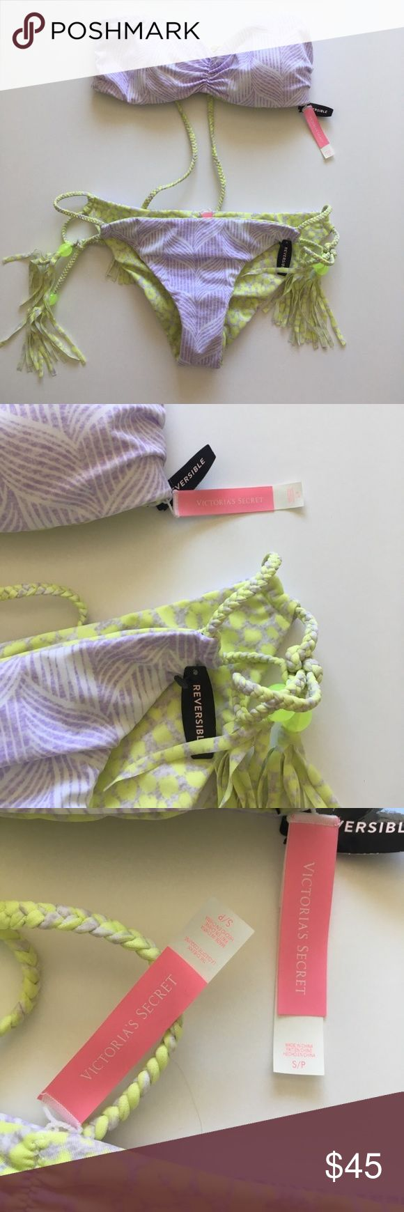• Reversible Victoria Secret bikini • Purple on one side and green on the other. Braided strings. NEW. Has hygienic liner inside bottoms. Bundle to save. Victoria's Secret Swim Bikinis
